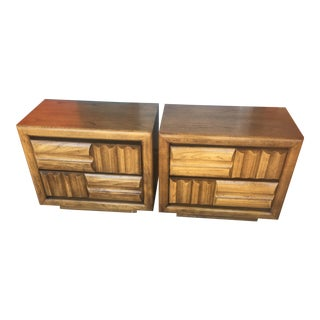 1960s Brutalist Lane Furniture Oak Nightstands - a Pair