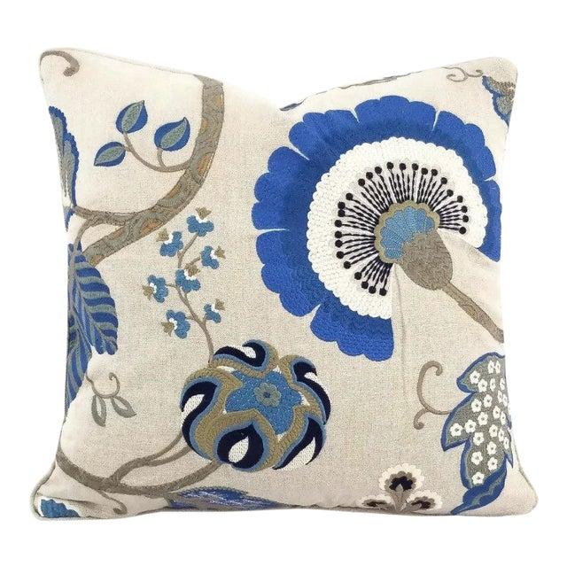 """Manuel Canovas Bordeaux Ciel Blue & Light Tan Linen with Self-Welt Pillow Cover - 20"""" X 20"""" For Sale"""