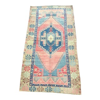 Vintage Faded Traditional Turkish Handmade Red and Blue Rug For Sale
