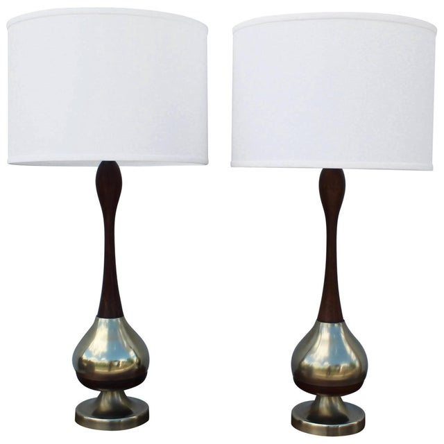 Tony Paul Brass and Walnut Table Lamps For Sale - Image 11 of 11
