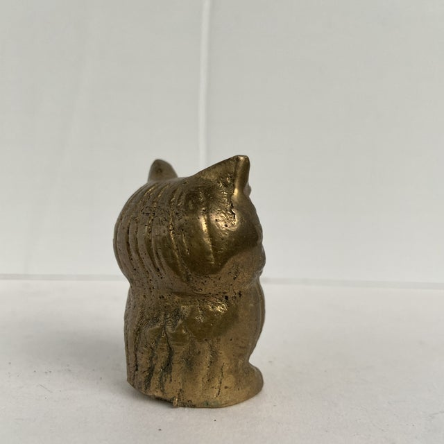 Vintage Mid 20th Century Tiny Brass Owl For Sale - Image 4 of 12