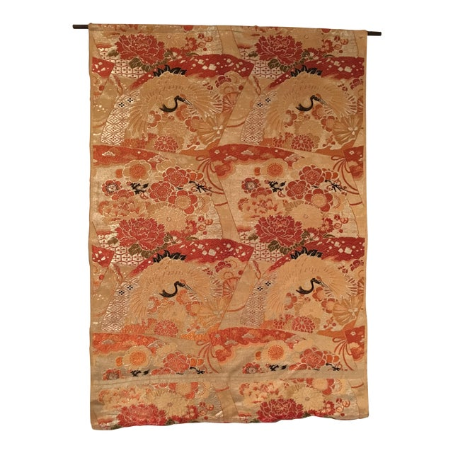 Vintage Japanese Silk Wall Tapestry For Sale