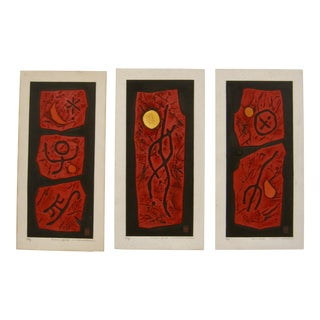 1960s Vintage Haku Maki Abstract Japanese Woodblock Prints - Set of 3 For Sale