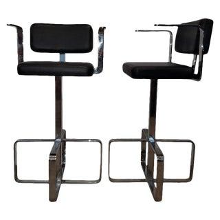 1980s Italian Contemporary Swivel Chrome Leather Bar Stools- A Pair For Sale