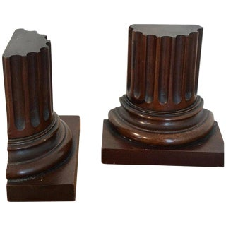 Pair of Grand Tour Carved Wood Column Bookends For Sale