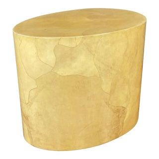 Aldo Tura Egg-Shaped Goatskin Side Table, Late 1960s For Sale