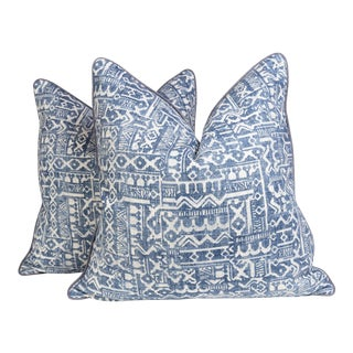 Blue Tribal Batik Pillows, a Pair For Sale