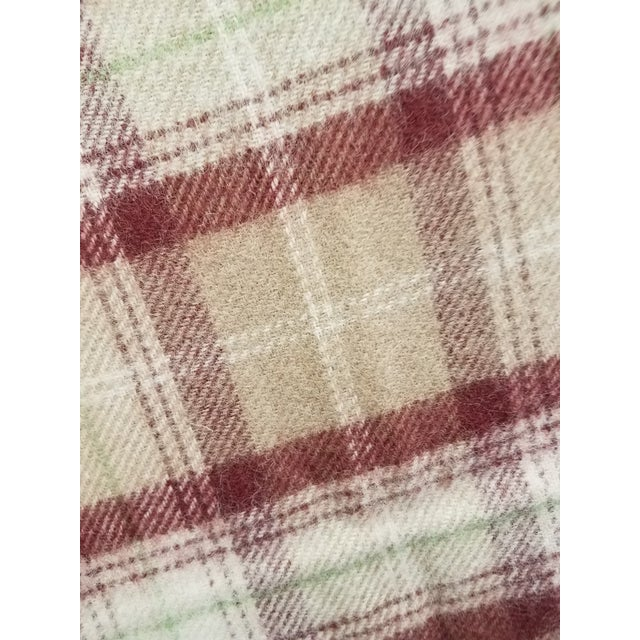 Wool Throw Green, Red, Brown and White in a Plaid Design - Made in England For Sale - Image 10 of 11