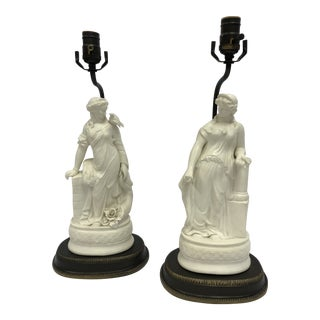 Vintage Neoclassical Bisque Porcelain Figural Table Lamps - a Pair For Sale