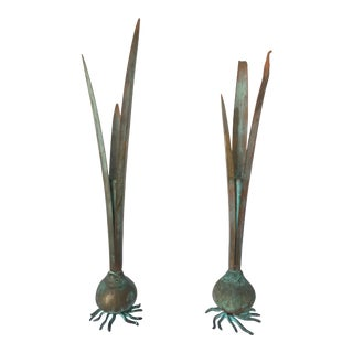 Bronze Garlic Bulb Candle Holders - A Pair