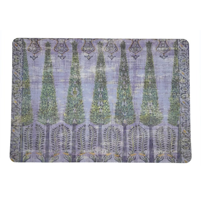Islamic Nicolette Mayer Topkapi Garden Gold Purple Rectangle Pebble Placemats, Set of 4 For Sale - Image 3 of 3