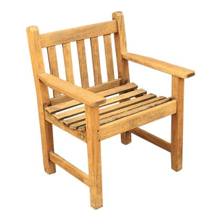 English Lister Chair of Teak for the Garden and Patio For Sale