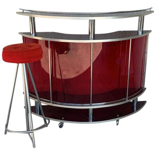 Space Age Red Dry Bar With Metal Structure & Plexiglass, France, 1970 For Sale