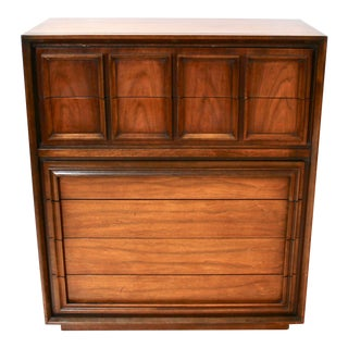 Mid-Century Modern Tall Walnut Dresser by United For Sale