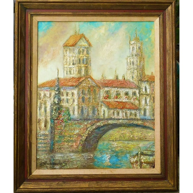Vintage Mid-Century Stanley Raubertas Oil on Canvas Framed Painting For Sale - Image 4 of 4