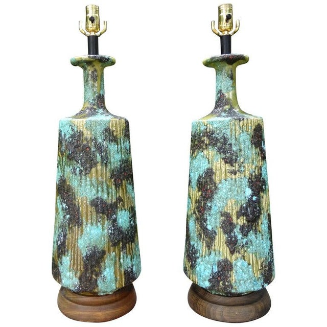Larger Italian Bitossi Attributed Glazed Ceramic Lamps-A Pair For Sale - Image 12 of 13