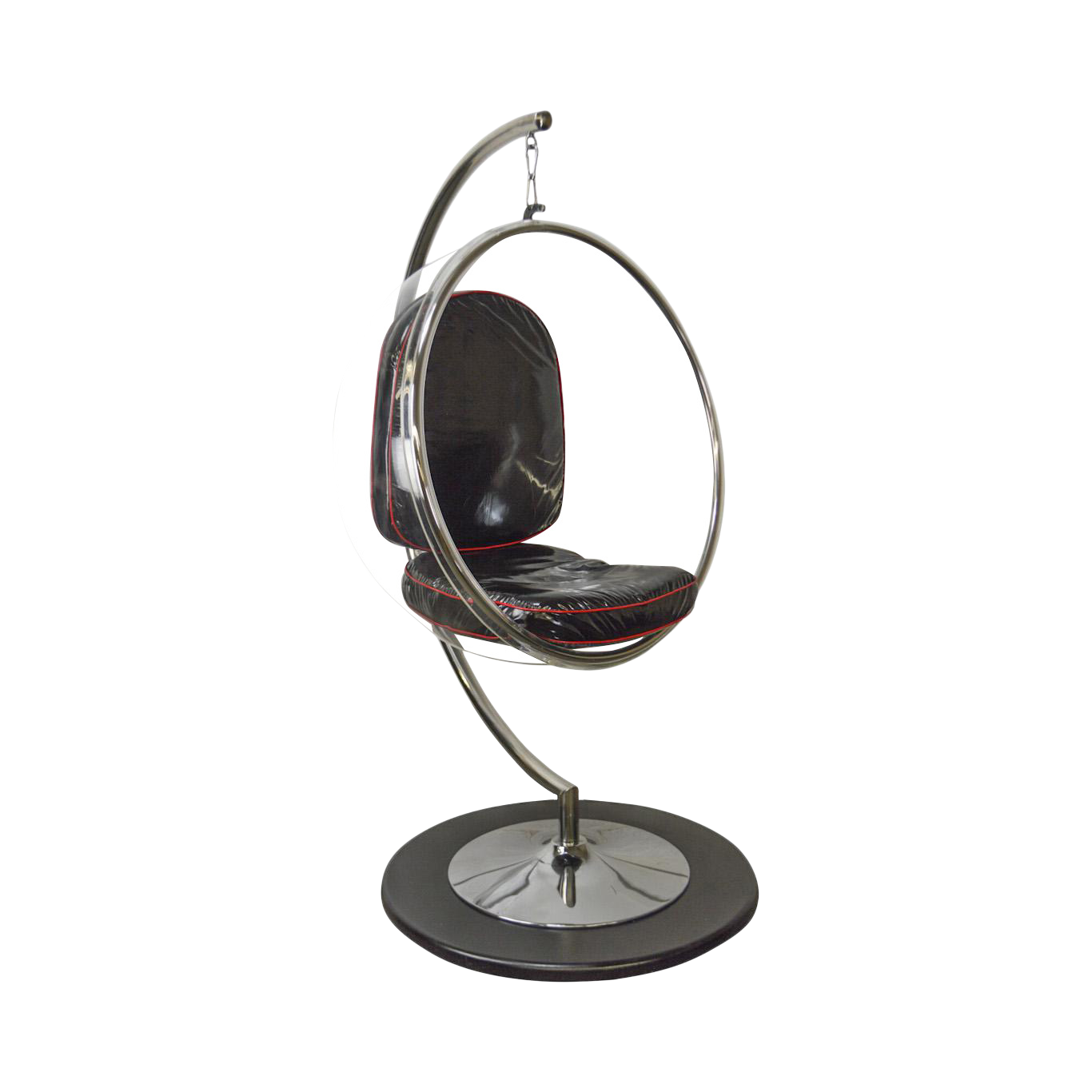 Eero Aarnio Style Hanging Acrylic Bubble Chair On Chrome C Stand