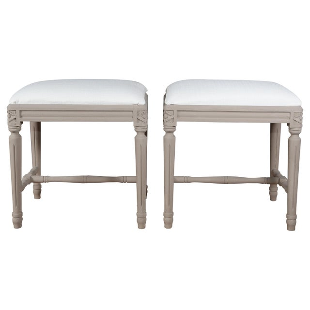 Wood Pair of Swedish Gustavian Foot Stools, 19th Century For Sale - Image 7 of 7