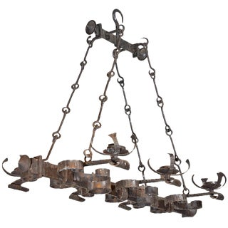 Antique French, Hand Forged, Six Light Iron Chandelier For Sale
