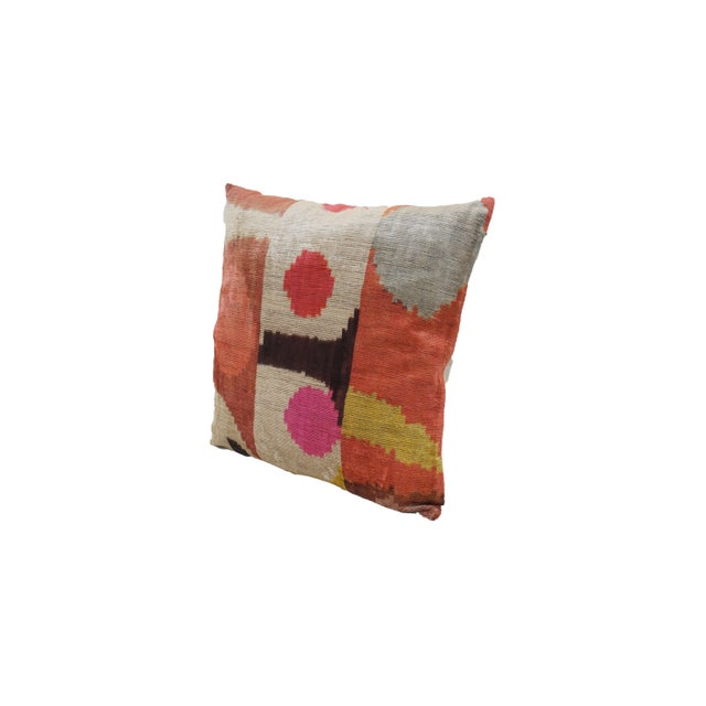 Tribal Desert Sun Multicolor Natural Silk Velvet Ikat Pillow For Sale - Image 3 of 5