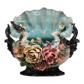 19th Century French Barbotine Cachepot With Hand-Painted Flowers and Birds