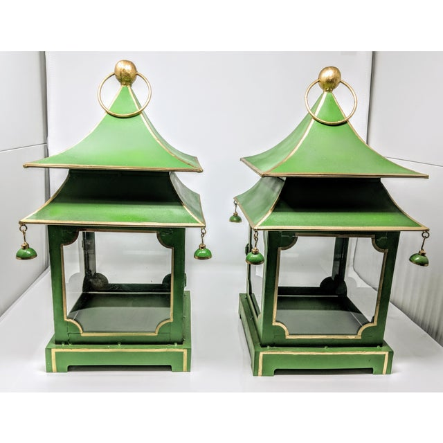 Asian Antiqued Two-Tier Green Tole Pagoda Lanterns - a Pair For Sale - Image 9 of 12