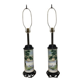 Asian Inspired Tubular Ceramic Vessel Table Lamps - a Pair For Sale
