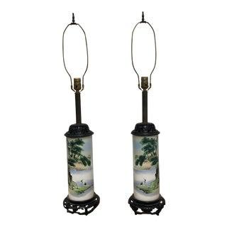 Asian Inspired Tubular Ceramic Vessel Table Lamps - a Pair