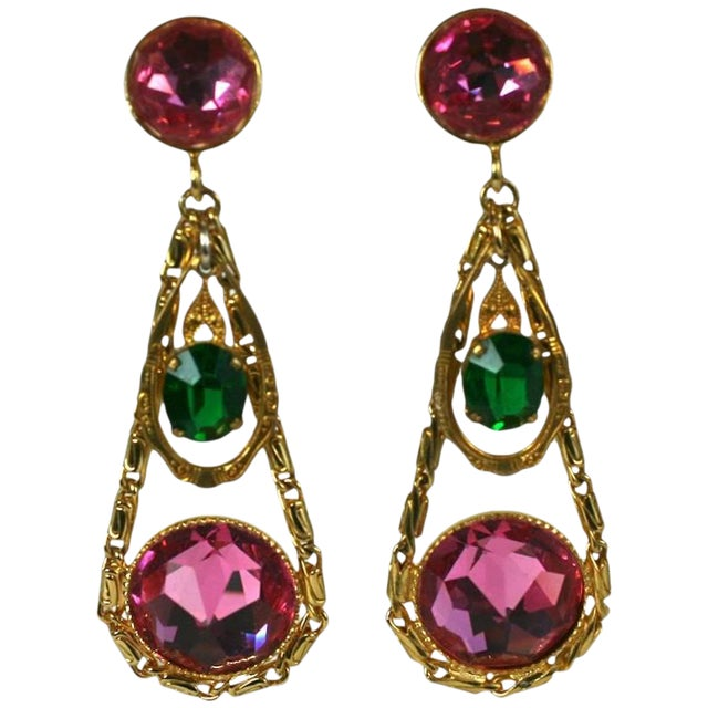 French Crystal Girandole Long Earrings For Sale