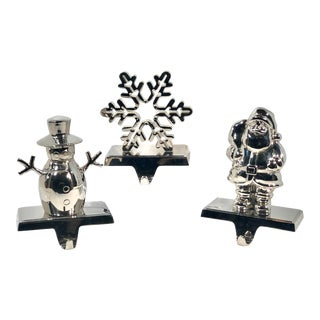 Vintage Traditional Silver Stocking Holders - Set of 3 For Sale