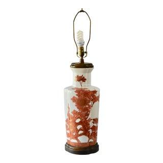 1930s Japanese Fujita Kutani Large Peacock Vase Table Lamp For Sale