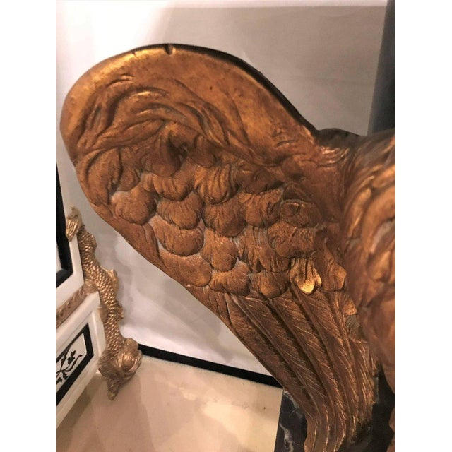 Giltwood Large Gilded Eagle Marble-Top Console or Pedestal For Sale - Image 7 of 11