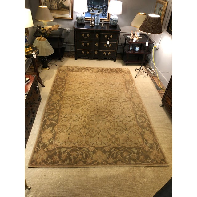 2000 - 2009 Neutral Luxurious Silk Tibetan Area Rug- 6′2″ × 8′11″ For Sale - Image 5 of 10