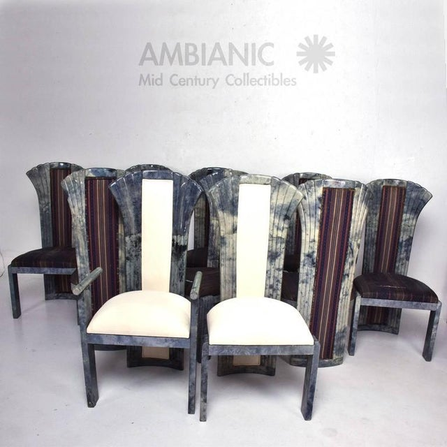 Set of 10 Goatskin Parchment Dining Chairs For Sale - Image 4 of 8