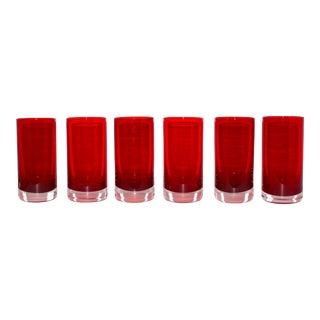 Set of Six Vintage Murano Highball Glasses in Red, C. 1970's For Sale