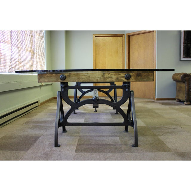 2010s Industrial Cast Iron & Wood Brake Conference Table For Sale - Image 5 of 11