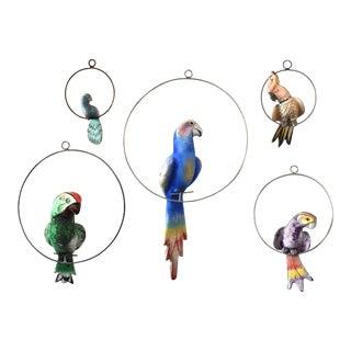 Mid-Century Folk Art Hanging Birds - Set of 5 For Sale