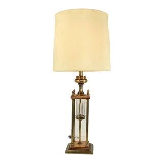 1960s Mid Century Modern Brass Wood Glass Stiffel Regency Table Lamp Light For Sale