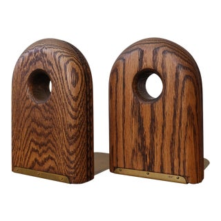 1970s Solid Oak and Brass Modernist Bookends For Sale