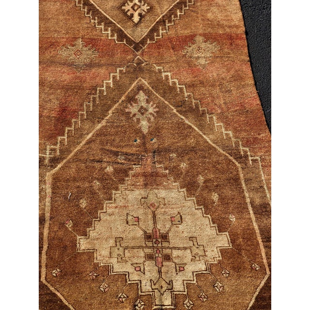 70 year old vintage Turkish Oushak wide runner. Made in the 1950s. Made from wool.