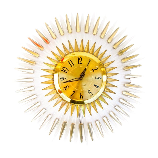 Mid-Century Modern Lucite Starburst Clock - Image 1 of 7