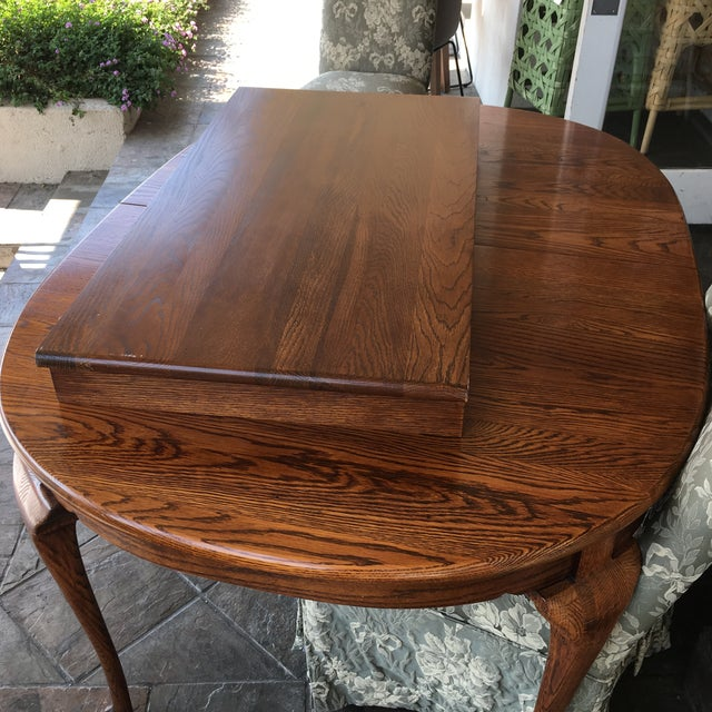 Oak Dining Table With Queen Anne Legs For Sale - Image 9 of 11