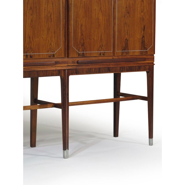 1930s Georg Kofoed Rosewood Cabinet with Eight-Karat White Gold Inlay For Sale - Image 5 of 10