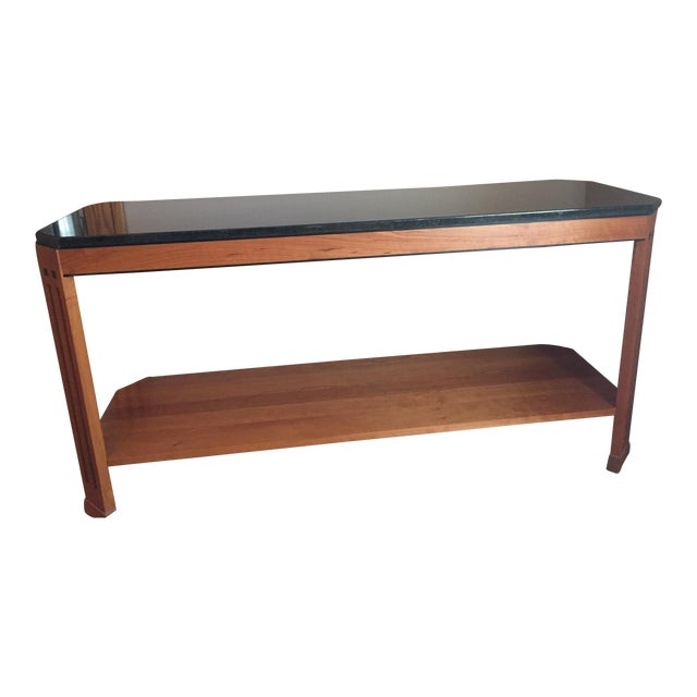 Mid-Century Modern Stickley Sofa Table With Black Granite Top