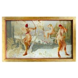 Image of Early 20th Century Antique French Art Deco Verre Eglomisé Painting For Sale