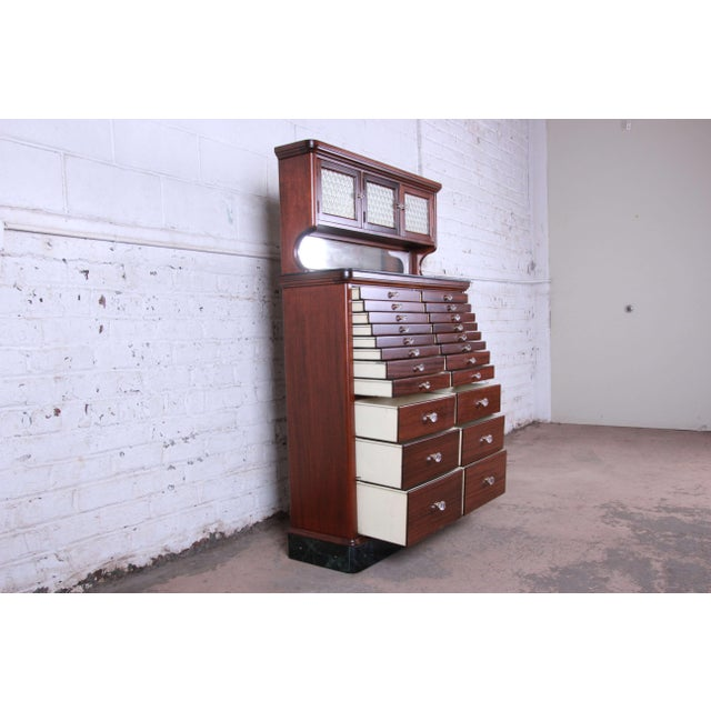 Metal 1920s Exceptional Antique 22 Drawer Mahogany Dental Cabinet For Sale - Image 7 of 13