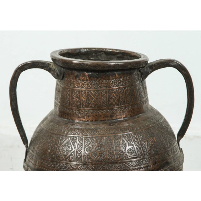 Antique Persian copper pot with handle, heavenly hand-hammered with intricate designs, Arabesque, stars and foliages. Very...