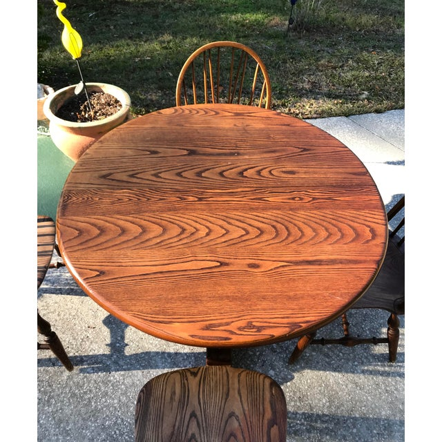 Vintage Round Oak Table With Four Windsor Chairs - Dining Set - Image 2 of 11