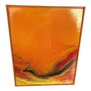1970s Vintage Mid-Century Modern Abstract Painting For Sale