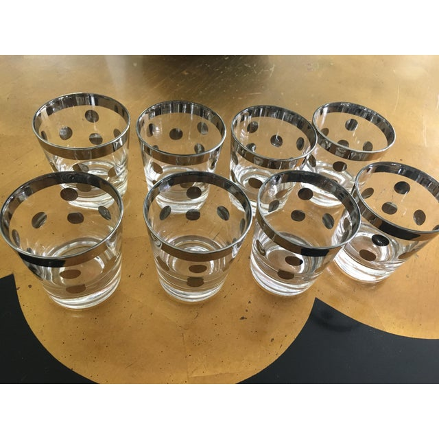 Metal Polka Dot Silver Glasses Dorthy Thorpe Style - Set of 8 For Sale - Image 7 of 9